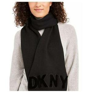 DKNY  Logo Velvet Flocked Flat Knit Scarf
